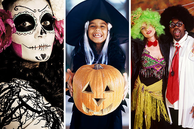 halloween costumes with witch, pumpkin, etc.