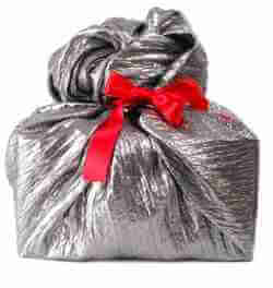 Gift wrapped with fabric