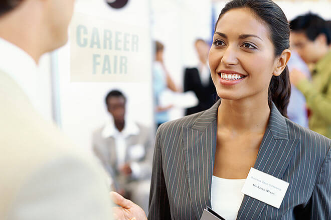Woman at career fair