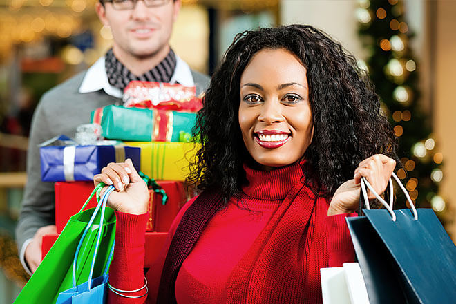 Woman with holiday shopping bags
