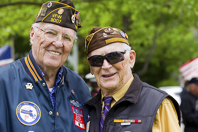 Two elderly veterans
