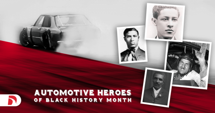 graphic with photos of automotive heroes of black history month