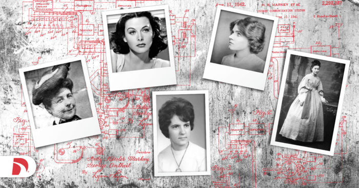 Black and white photo collage of female inventors who made automotive inventions, including Mary Anderson, Charlotte Bridgwood, Florence Lawrence, Hedy Lamarr, Bertha Benz, and Margaret Wilcox