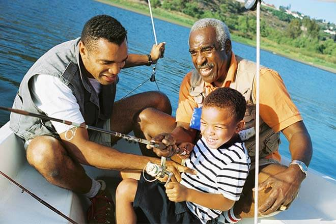 family fishing on a boat