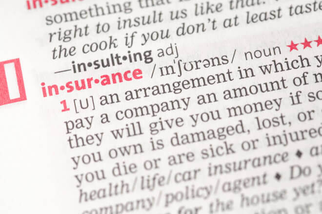 "Close up view of dictionary entry for the word ""insurance"""