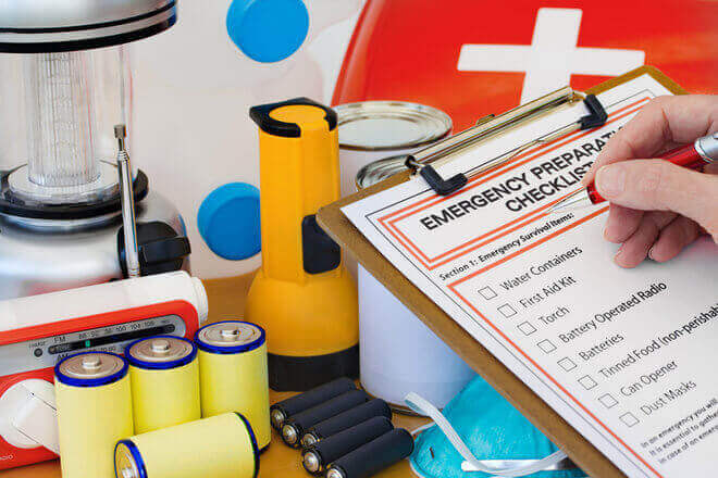 Everything you need to make an emergency preparedness kit, including batteries, flashlight, a first aid kit, and more