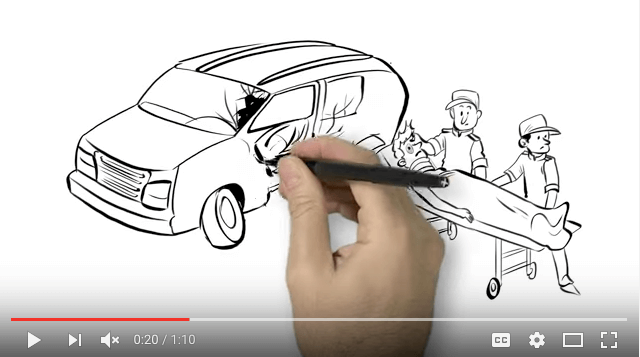 Whiteboard video snapshot of hand drawing vehicle collision