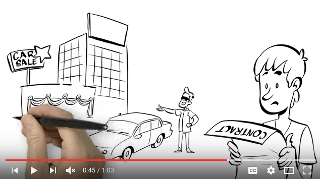 Hand drawing whiteboard video sketch of man reviewing costs after he's involved in a collision
