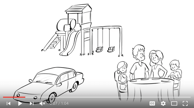 Whiteboard rendition of a car, play set, and a family of four sitting at the dinner table