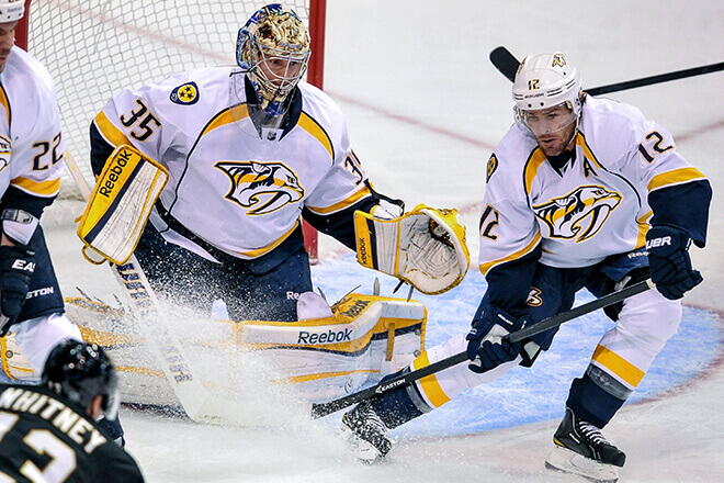 Nashville Predators NHL hockey team in mid-game