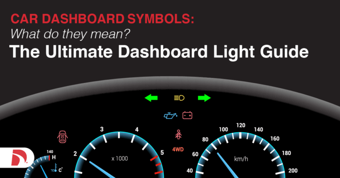 Drawing of car dashboard that says Car Dashboard Symbols What do they mean? The ultimate dashboard light guide""