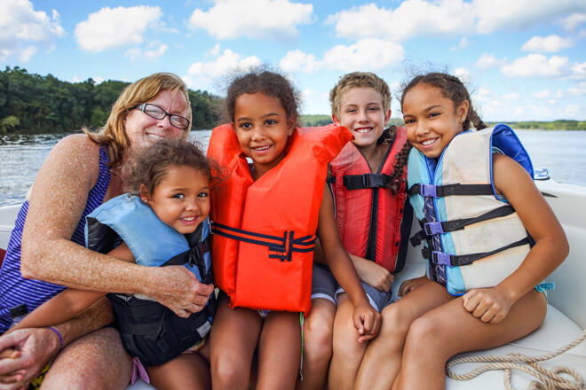 Make sure your kids wear life jackets on the lake!