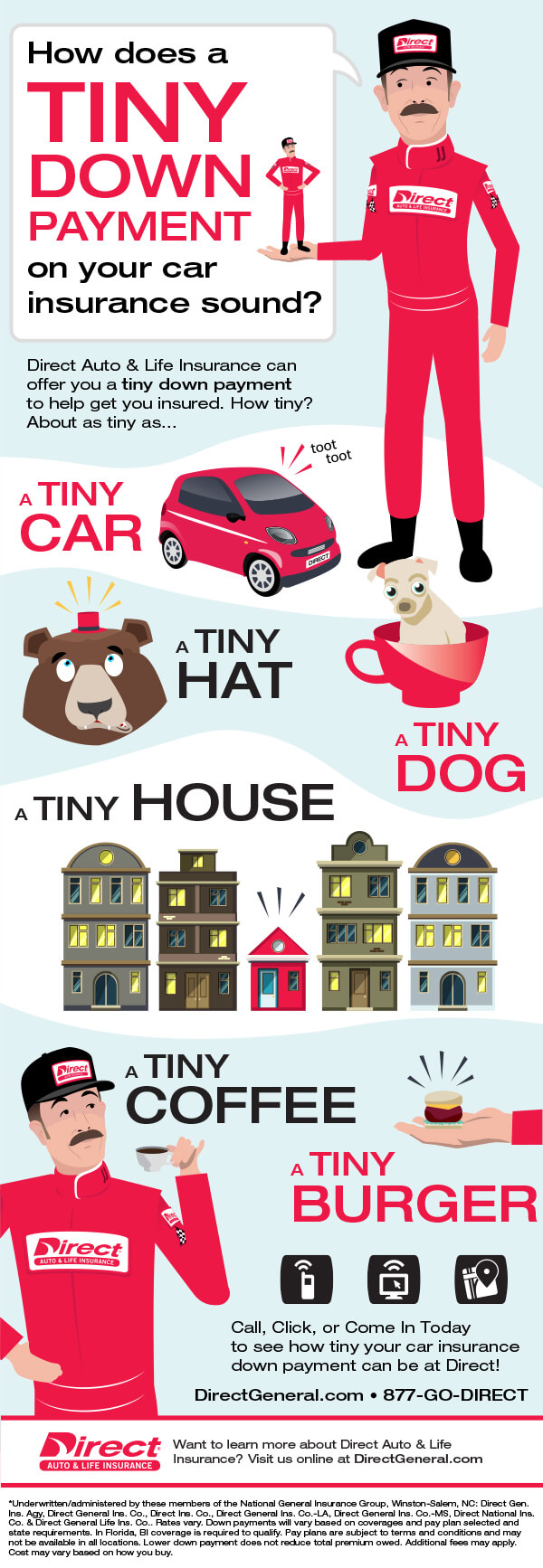 Tiny Jj S Tiny Down Payments On Car Insurance Infographic Direct