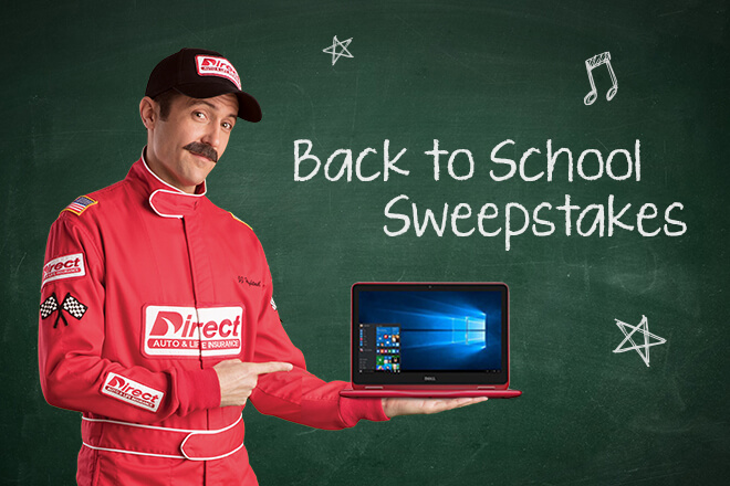 Direct Auto & Life Insurance Back to school sweepstakes. JJ hightail holding a laptop.