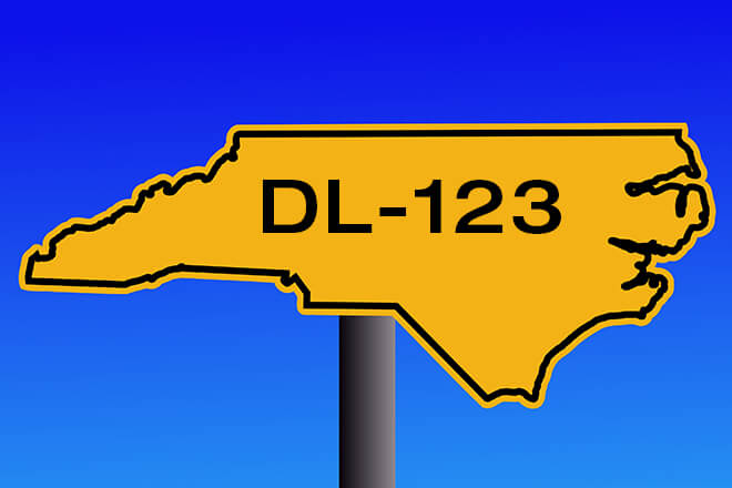 DL-123 on South Carolina state road sign