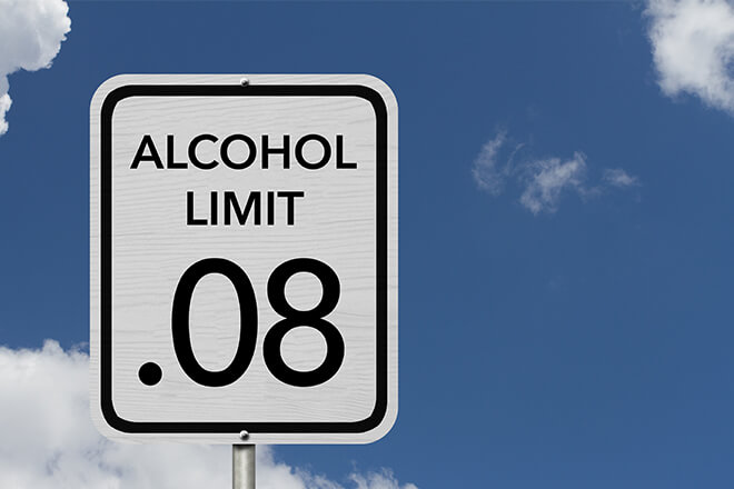Alcohol limit .08 street sign