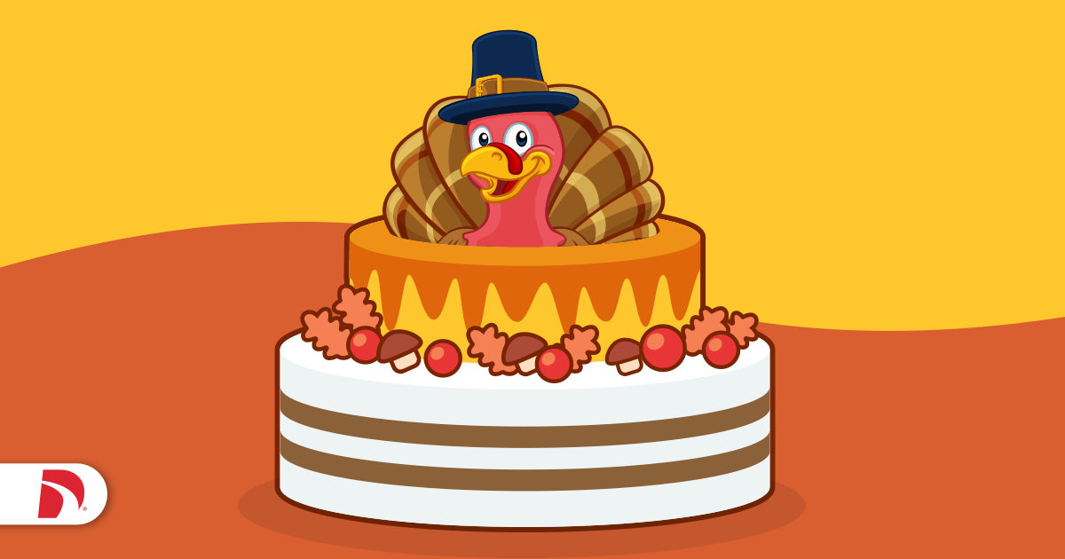 Tiered Thanksgiving cake with a turkey on top
