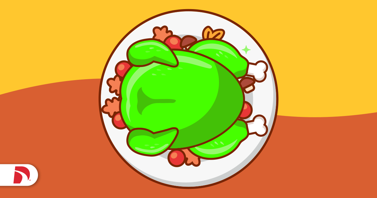 Green Jell-O mold Thanksgiving turkey