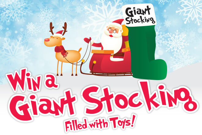 Stocking Go-Go: Win a giant stocking filled with toys; Santa on sleigh with reindeer