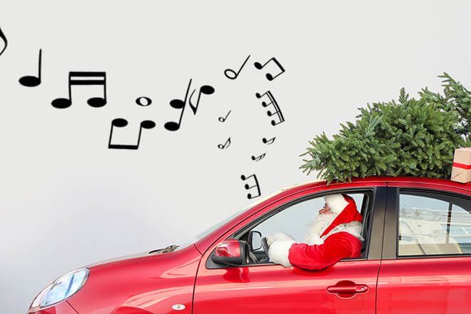 Santa Clause driving in a car listening to Christmas songs