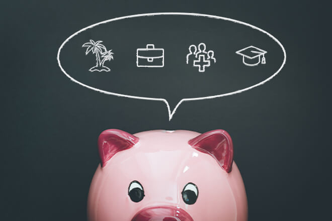 Piggy bank with thought bubble of ideas where tax refund can be spent.