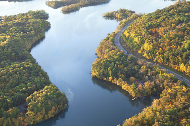 Ariel view of the the Mississippi River and road alongside it