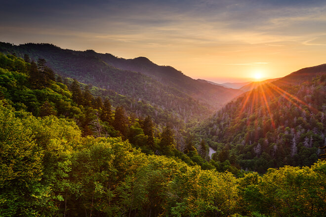 View from the top of mountain overlooking landscape at Great Smoky Mountains National Park, Tennessee and North Carolina