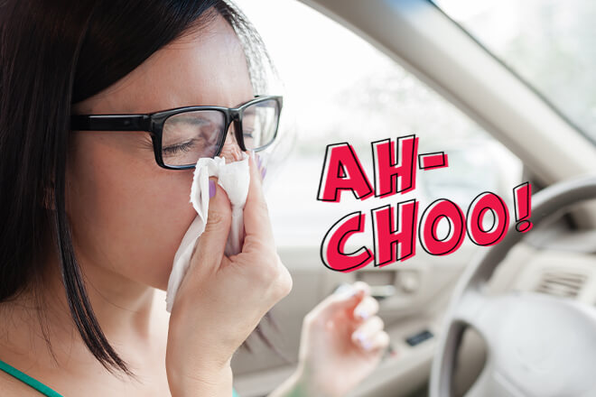Ah-Choo woman in glasses sneezing into a tissue while behind the wheel of car.
