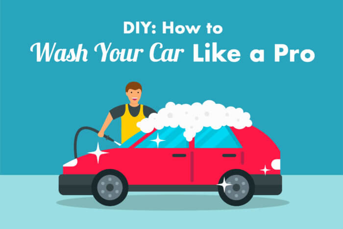 how to wash your car graphic of person with hose washing their red car with soapy suds on it