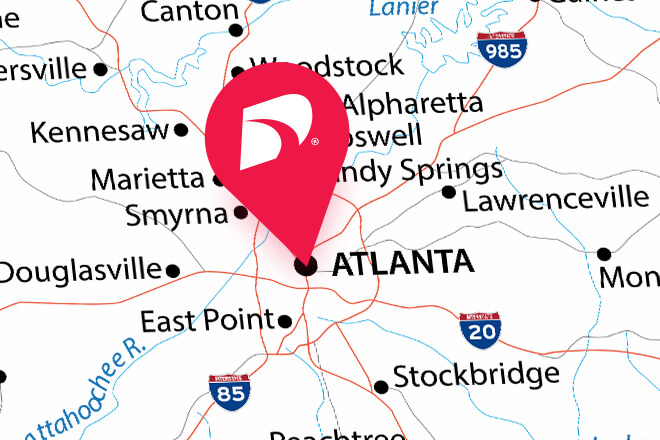 Map graphic with pin on Atlanta, GA.