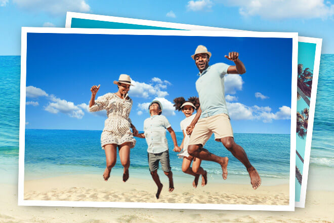 Family jumping on a beach.