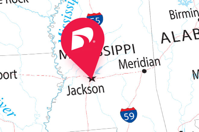Jackson, Mississippi pinned on a map.