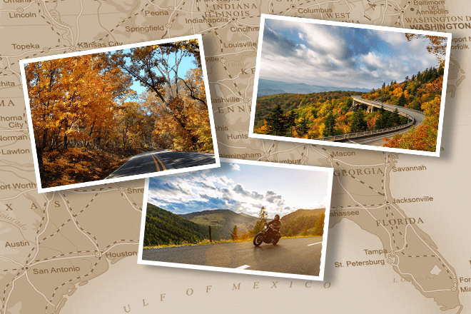 Three snapshots of autumn drives with foliage lined roads on backdrop of U.S. map of southeast