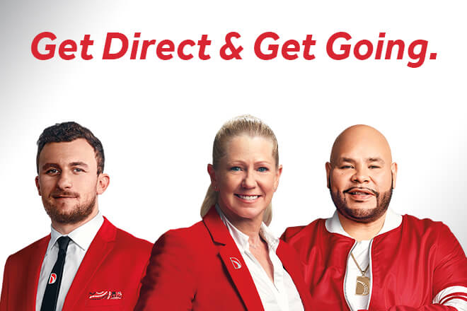 Johnny Manziel, Tonya Harding, Fat Joe: Direct Auto Insurance Spokespersons. Get Direct & Get Going.