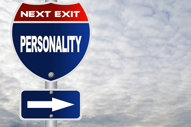 "Blue interstate sign displaying ""Next Exit: Personality"" with an arrow pointing right."