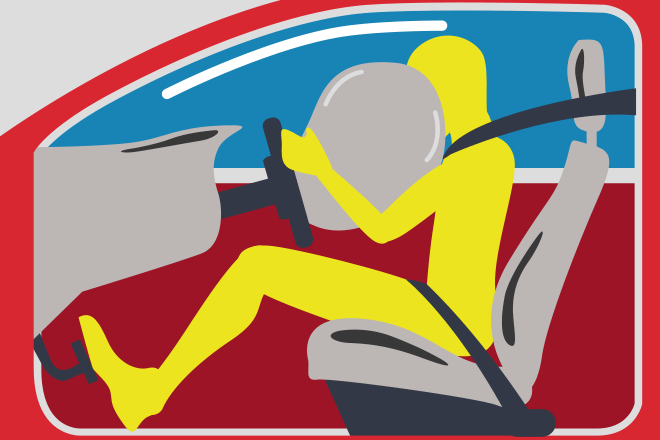 Yellow cartoon driver being saved by an airbag in his red car.