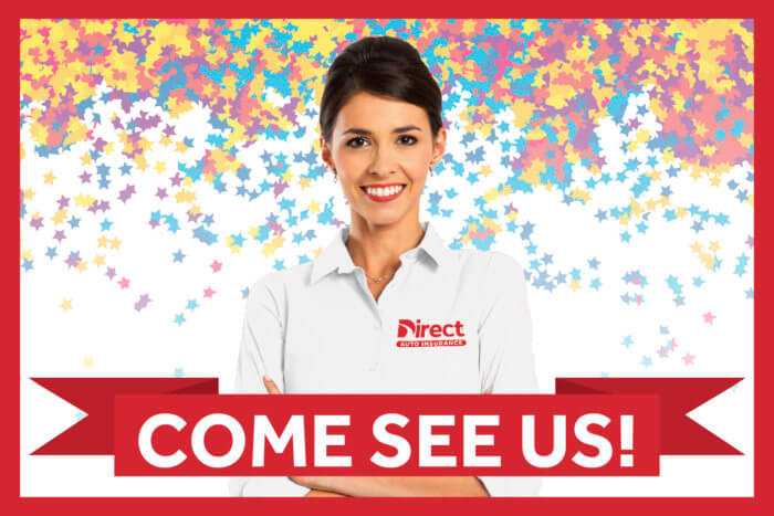 "Smiling Direct agent with confetti stars and a sign displaying ""Come See Us"""
