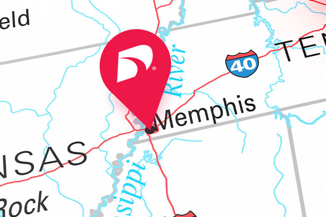 Memphis pinned on a map of Tennessee