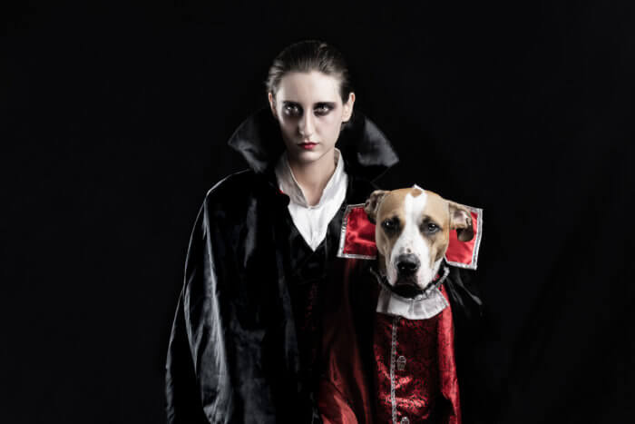Woman and her dog dressed up as matching vampires for halloween while gazing creepily.