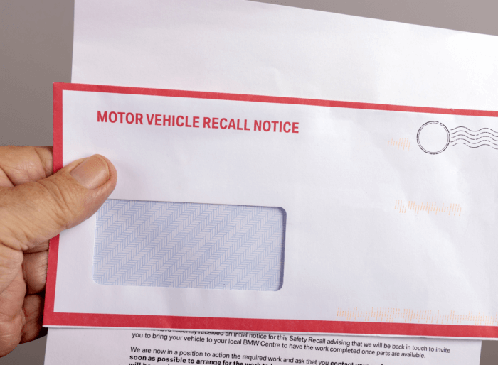 Vehicle recall letter