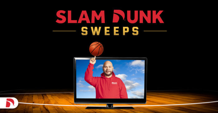 Direct Auto Insurance Slam Dunk TV Sweepstakes with Fat Joe twirling Basketball