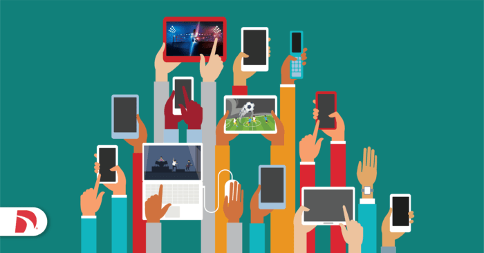 people holding devices with live events streaming