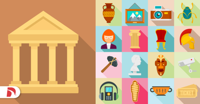 graphic with icons representing different types of museums