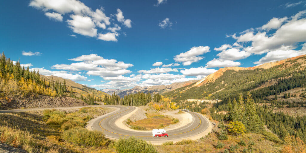 Winding stretch of Million Dollar Highway in Southwest Colorado