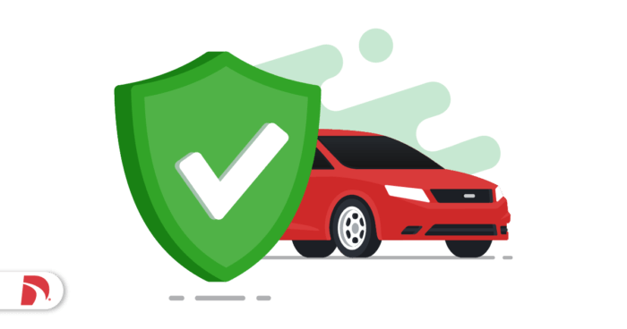 Red car and a green badge with a green check mark