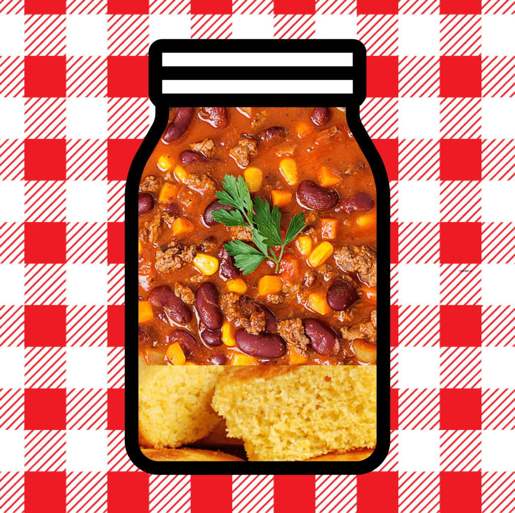 Chili and cornbread in a mason jar