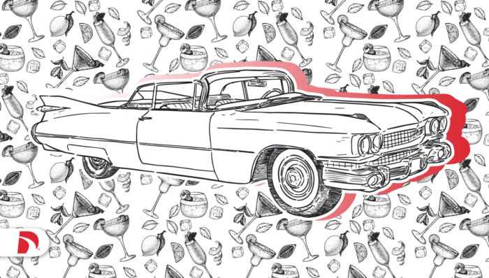 Drawing of Cadillac convertible with mocktail glasses and mocktail recipe cards
