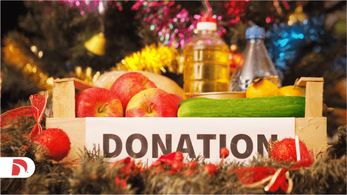 a donation box with collected food items