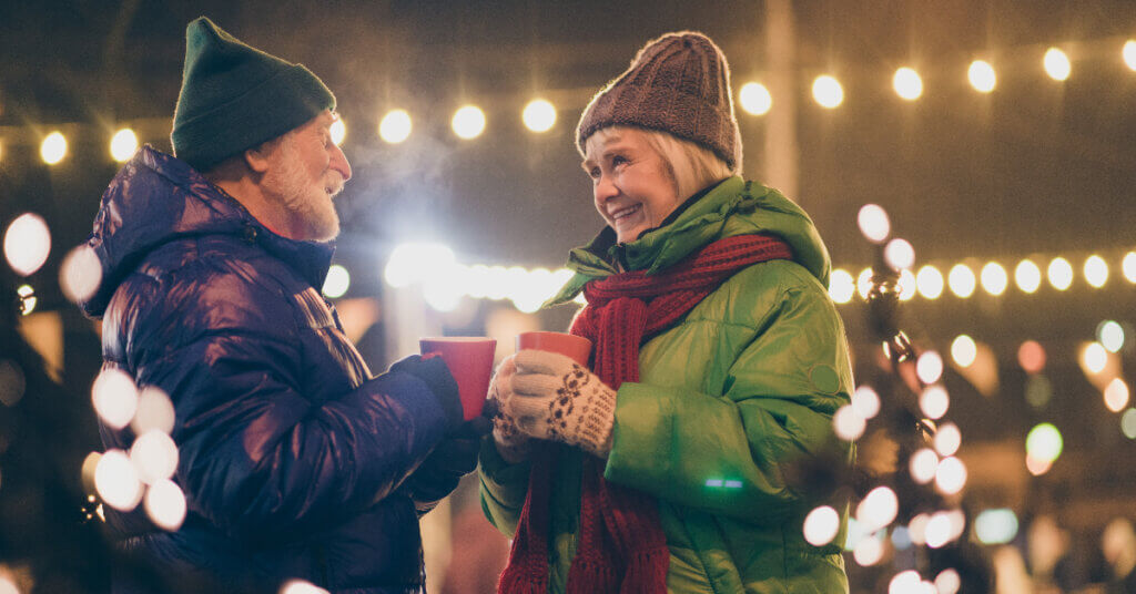 a couple enjoys hot chocolate during a date night