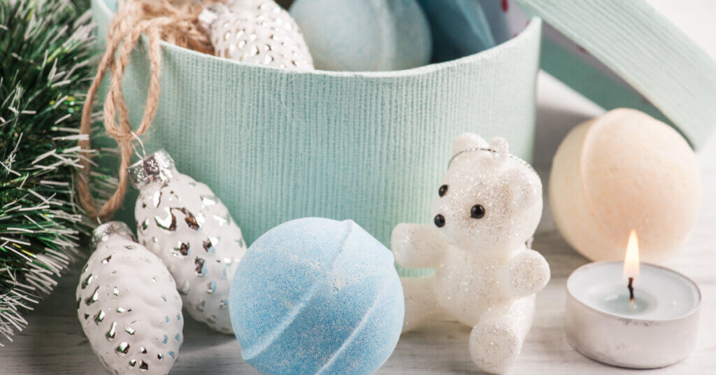 assorted bath bombs and christmas ornaments